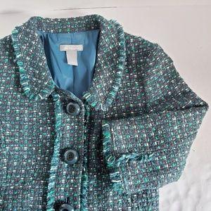 Ann Taylor Wool Blend Tweed Fringe Jacket 2